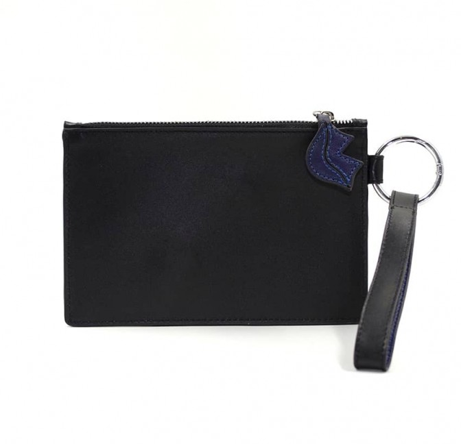 Black leather Zipped pouch ISADORA, navy blue mouth, back view | Gloria Balensi