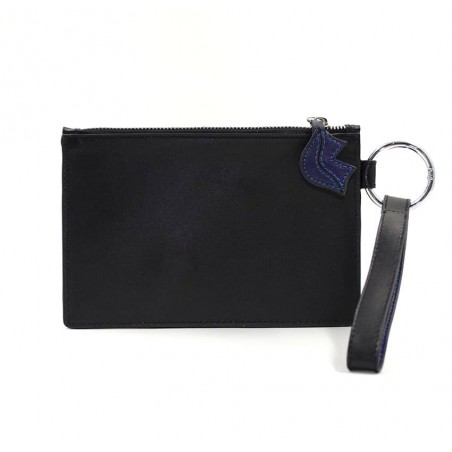 Pochette zippée en cuir noir ISADORA, bouche bleu marine, vue dos | Gloria Balensi