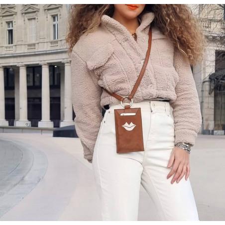 Camel TÉLI phone pouch, view 2 | Gloria Balensi