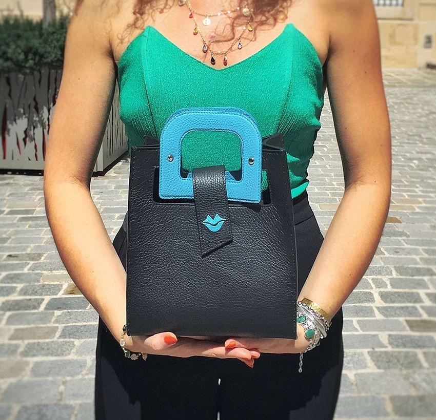 Sky blue Artist's handbag GLORIA BALENSI in Taurillon leather, view worn