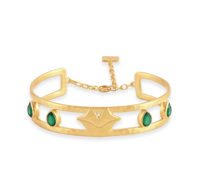 Bracelet demi-jonc martelé OLYMPE avec fermoir chaînette et Onyx vert, vue devant | Gloria Balensi