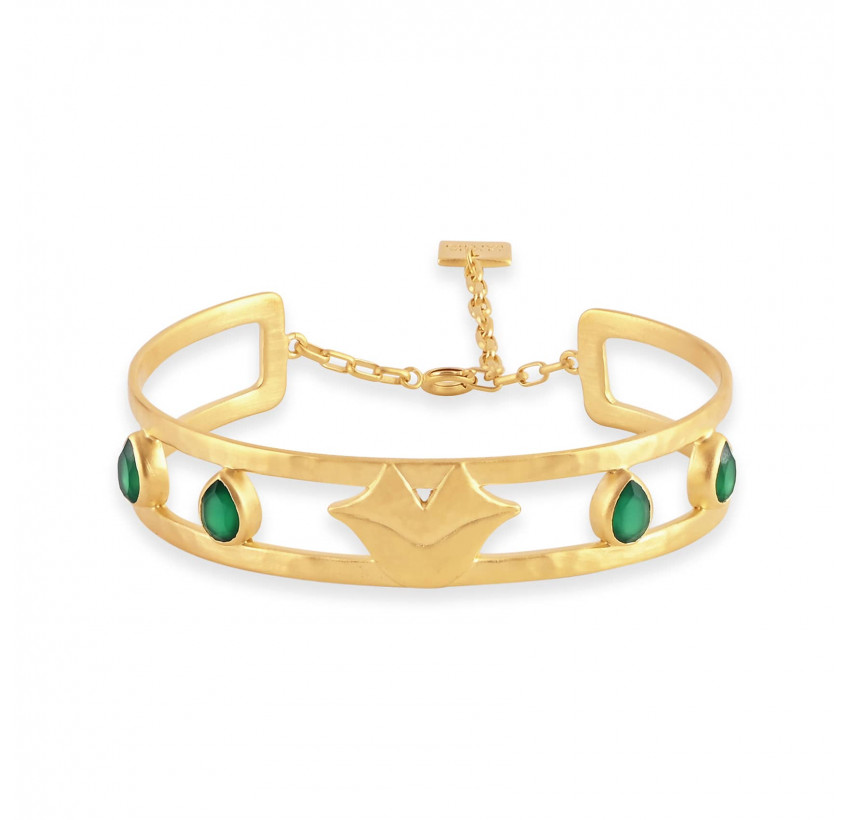 Bracelet jonc plaqué or OLYMPE avec Onyx vert, vue devant | Gloria Balensi