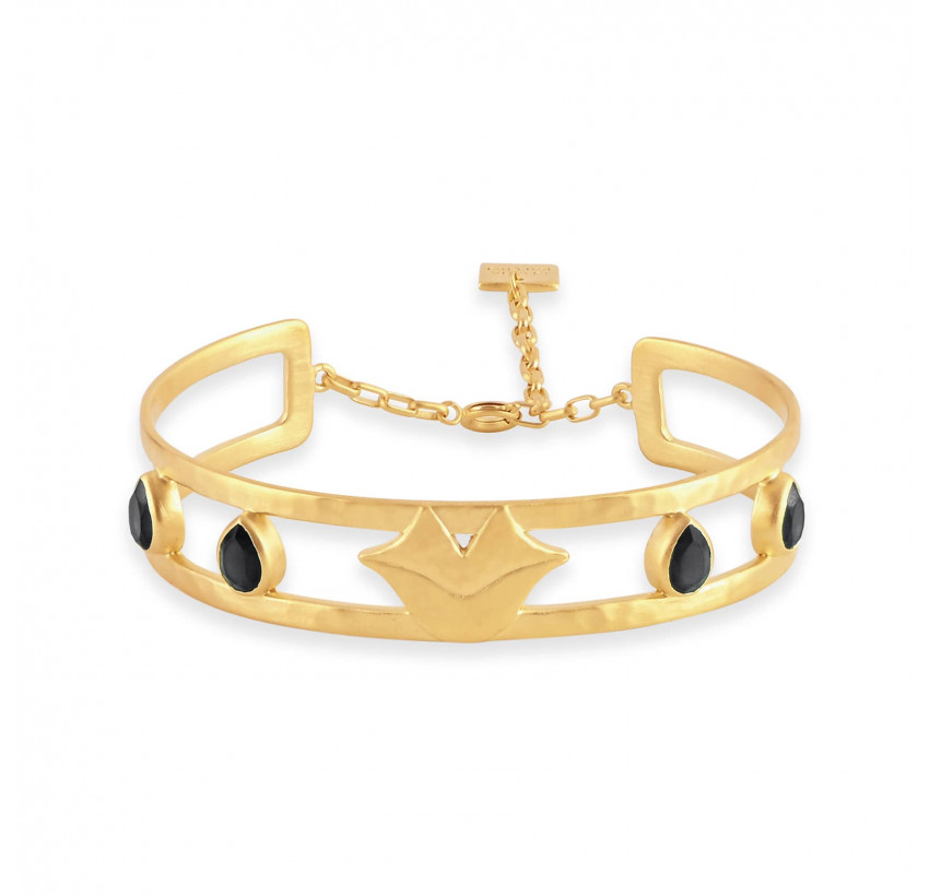 Bracelet jonc plaqué or OLYMPE avec Onyx noir, vue devant | Gloria Balensi