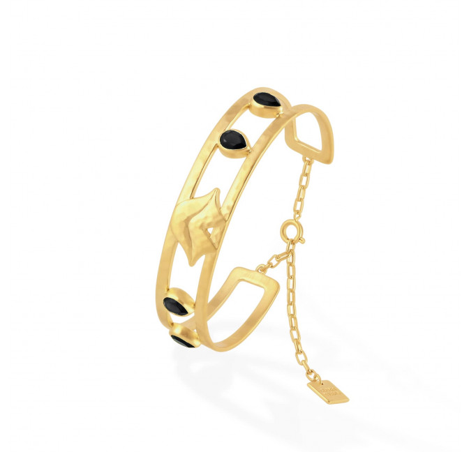Gold-plated bracelet OLYMPE with black Onyx, side view | Gloria Balensi