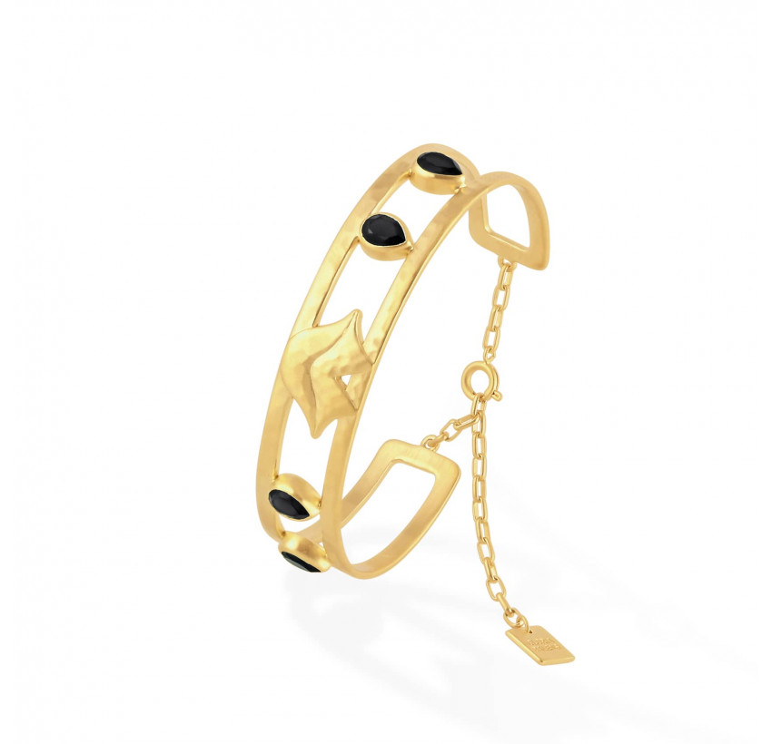 Gold-plated bracelet OLYMPE with black Onyx, side view   Gloria Balensi