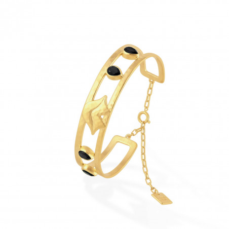 Bracelet jonc plaqué or OLYMPE avec Onyx noir, vue profil | Gloria Balensi