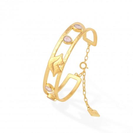Bracelet jonc plaqué or OLYMPE avec quartz rose, vue profil | Gloria Balensi