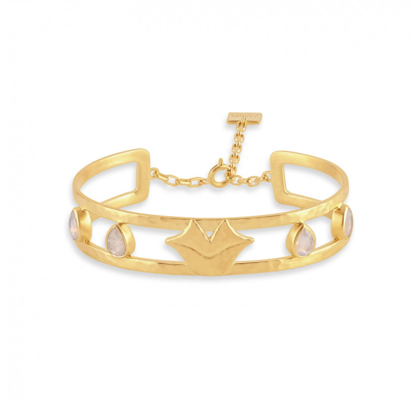 Gold-plated bracelet OLYMPE with pink quartz, front view | Gloria Balensi