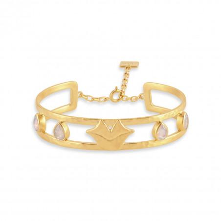 Bracelet jonc plaqué or OLYMPE avec quartz rose, vue devant | Gloria Balensi