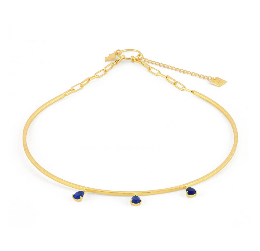 NAYA torque necklace with Lapis Lazuli, front view | Gloria Balensi