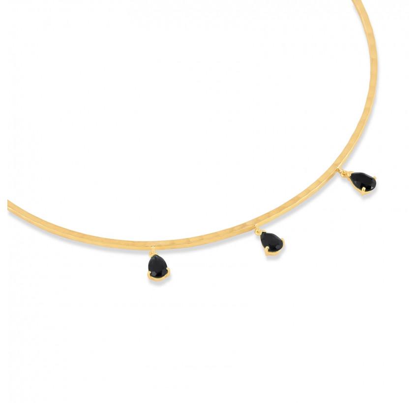 NAYA torque necklace with black onyx, view zoom on stone | Gloria Balensi