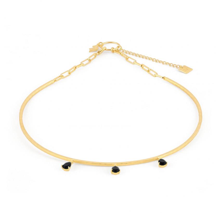 NAYA torque necklace with black onyx, front view | Gloria Balensi