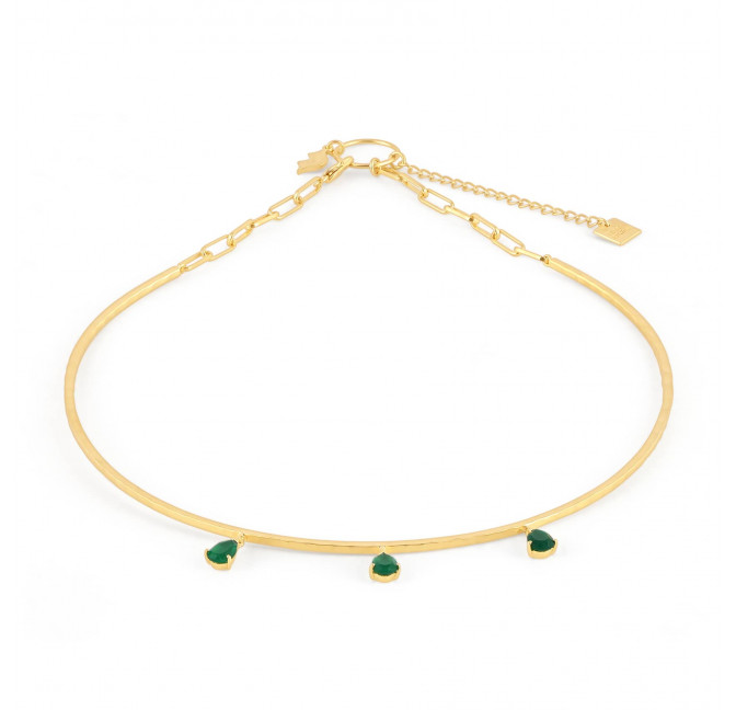 NAYA torque necklace with green onyx, front view  | Gloria Balensi