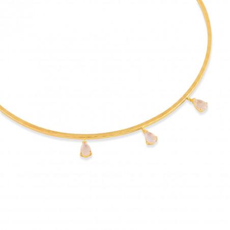 NAYA torque necklace with pink quartz, view zoom on stone | Gloria Balensi