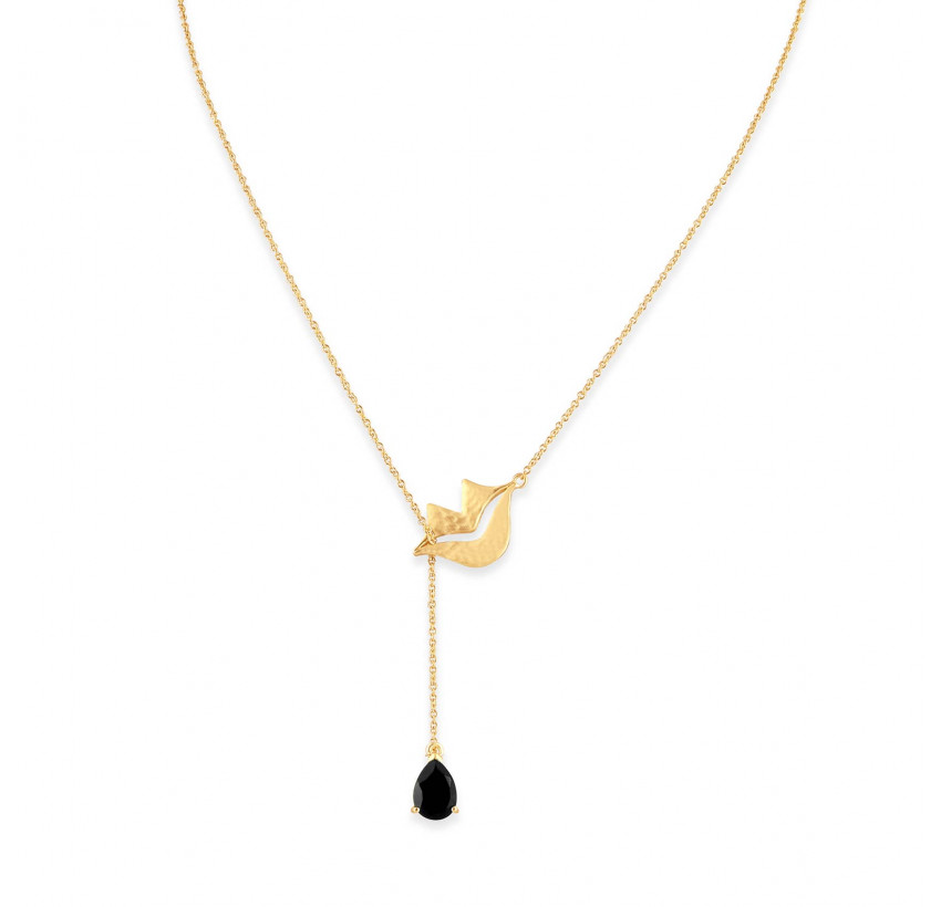 HÉRA chain necklace with black onyx, front view | Gloria Balensi