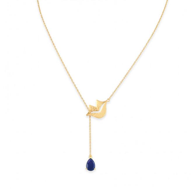 Collier chaîne HÉRA avec lapis lazuli, vue devant | Gloria Balensi
