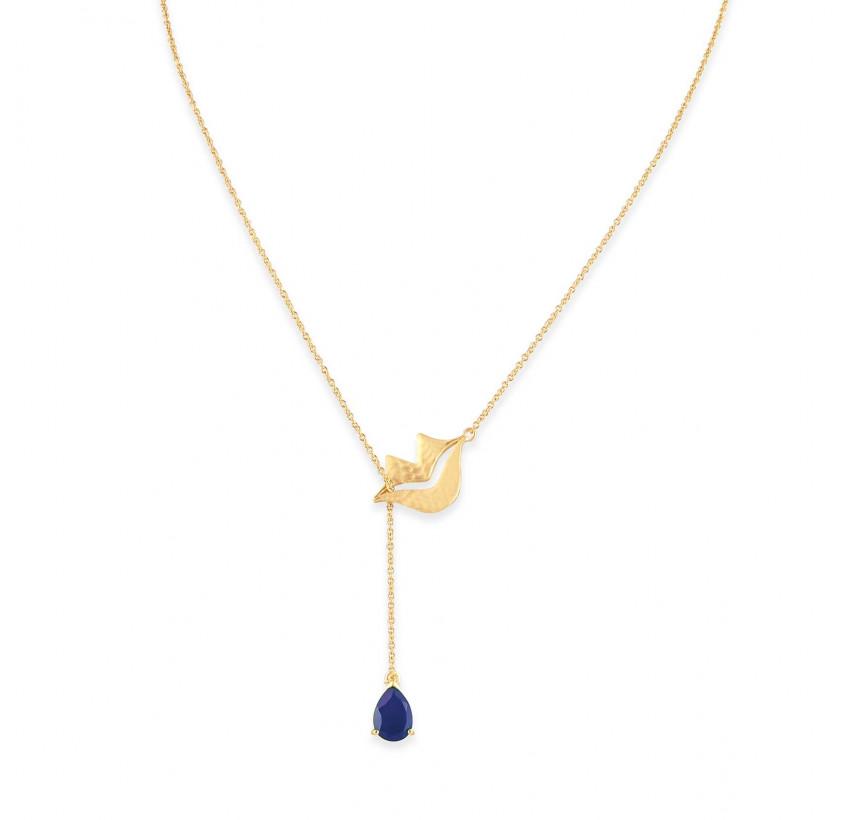 HÉRA chain necklace with lapis lazuli, front view | Gloria Balensi