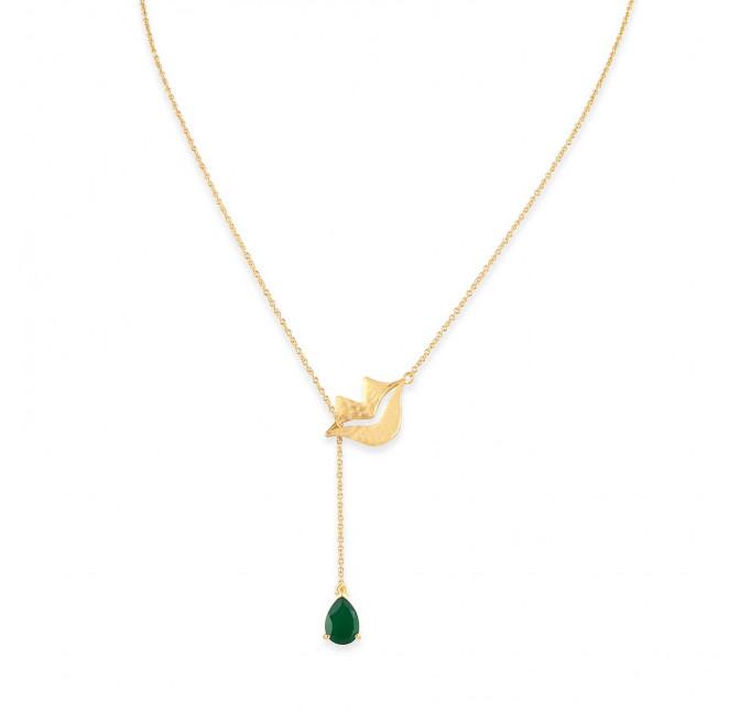 Collier chaîne HÉRA avec Onyx vert, vue devant | Gloria Balensi