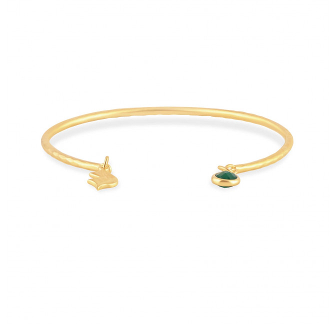 AVA hammered bangle with green Onyx, front view | Gloria Balensi