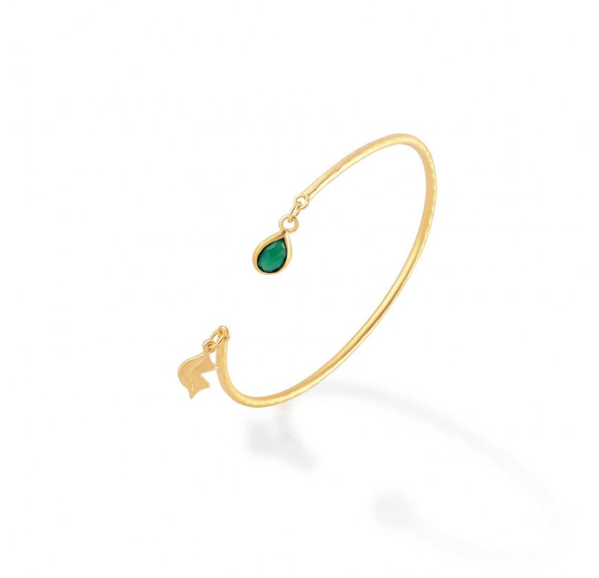 Bracelet Jonc plaqué or AVA avec pierre naturelle en Onyx vert, vue profil | Gloria Balensi