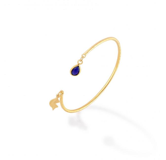 Bracelet Jonc plaqué or AVA avec Lapis lazuli, vue profil | Gloria Balensi