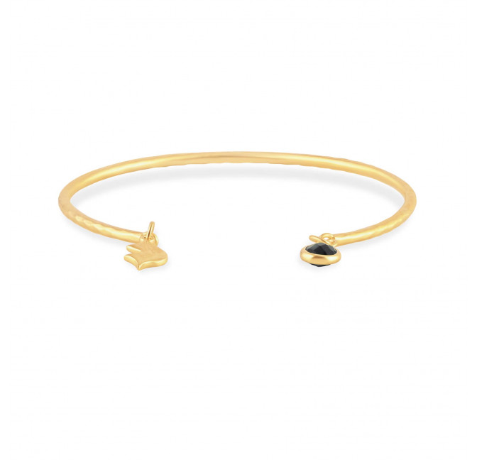Bracelet Jonc plaqué or AVA avec Onyx noir, vue devant | Gloria Balensi