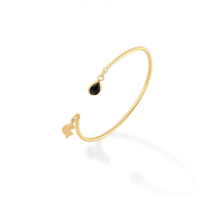 Bracelet Jonc plaqué or AVA avec Onyx noir, vue profil | Gloria Balensi
