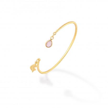 Bracelet Jonc plaqué or AVA avec quartz rose, vue profil   Gloria Balensi
