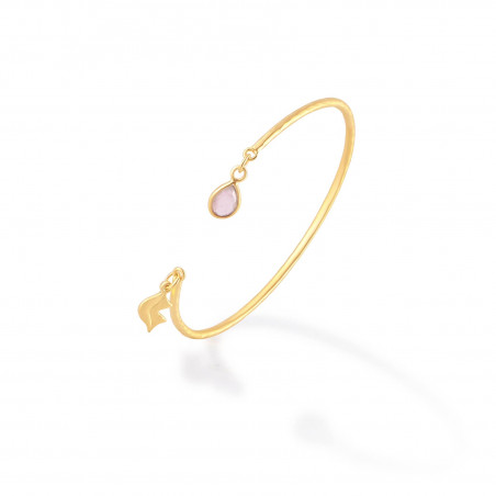 Gold-plated bracelet AVA with pink quartz, side view | Gloria Balensi