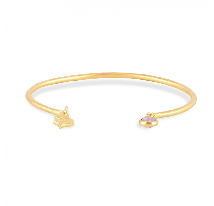 Gold-plated bracelet AVA with pink quartz, front view | Gloria Balensi