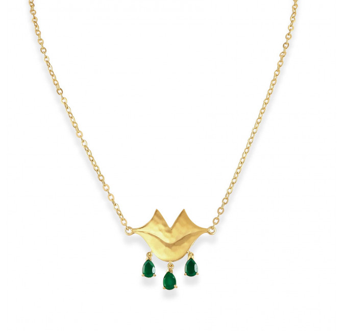 VENUS chain necklace with green Onyx, front view | Gloria Balensi