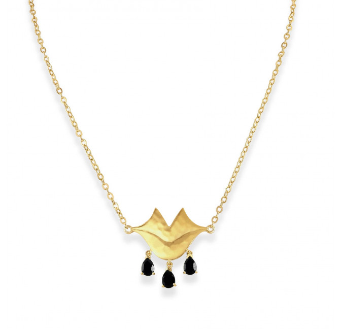 VENUS chain necklace with black Onyx, front view | Gloria Balensi