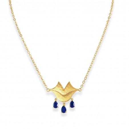 VENUS chain necklace with Lapis lazuli, front view   Gloria Balensi
