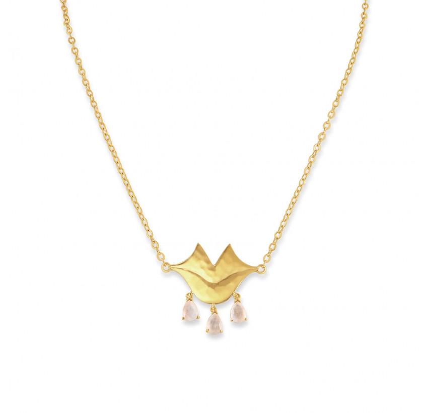 VENUS chain necklace with pink quartz, front view | Gloria Balensi