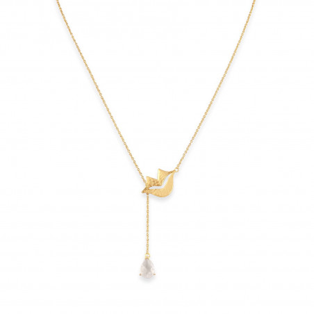 HÉRA chain necklace with moon stone, front view | Gloria Balensi