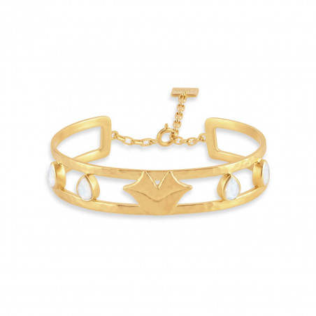 Gold-plated bracelet OLYMPE with moonstone, front view | Gloria Balensi