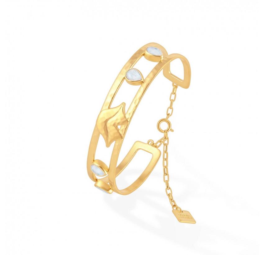 Bracelet jonc plaqué or OLYMPE avec pierre de lune, vue profil | Gloria Balensi