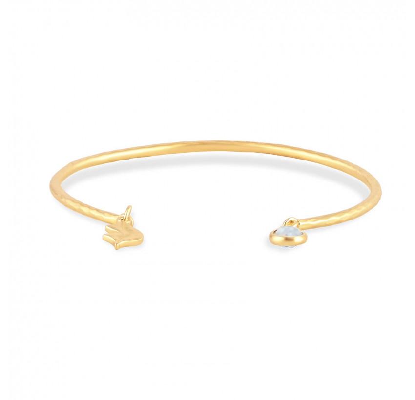 Bracelet Jonc plaqué or AVA avec pierre de lune, vue devant | Gloria Balensi