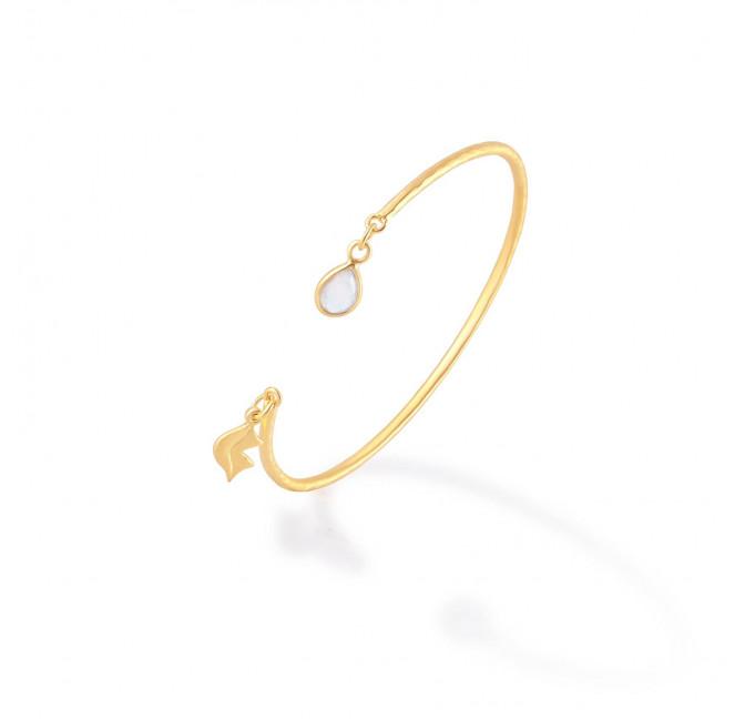 Bracelet Jonc plaqué or AVA avec pierre de lune, vue profil | Gloria Balensi
