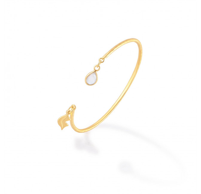 Gold-plated bracelet AVA with moonstone, side view | Gloria Balensi
