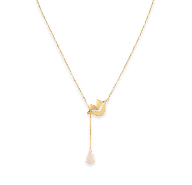 HÉRA chain necklace with pink quart, front view | Gloria Balensi