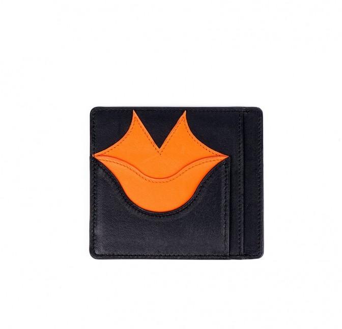 Porte-cartes MILY noir et orange en cuir de veau et agneau