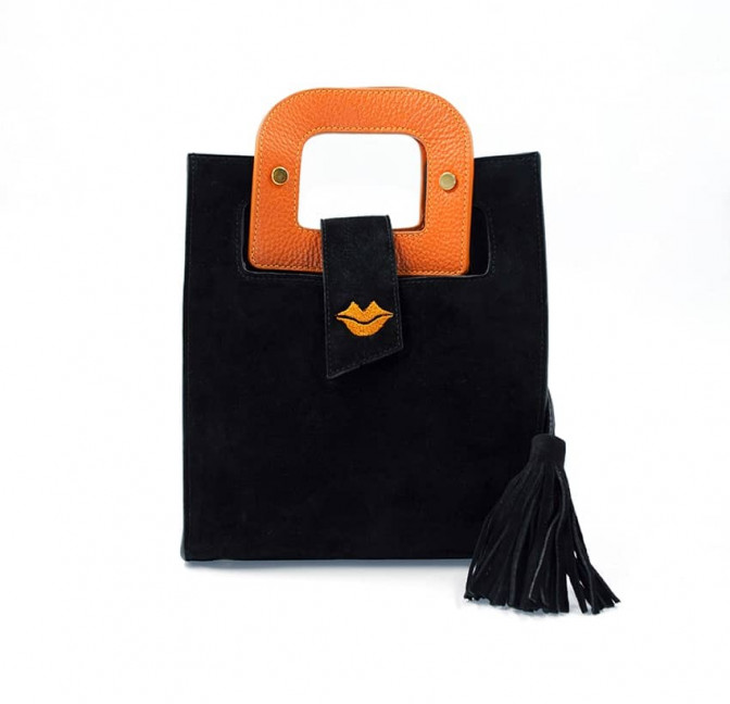 Black suede leather bag ARTISTE, orange handle and mouth embroidery , view 2  | Gloria Balensi