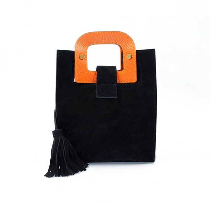 Black suede leather bag ARTISTE, orange handle and mouth embroidery , view 3  | Gloria Balensi