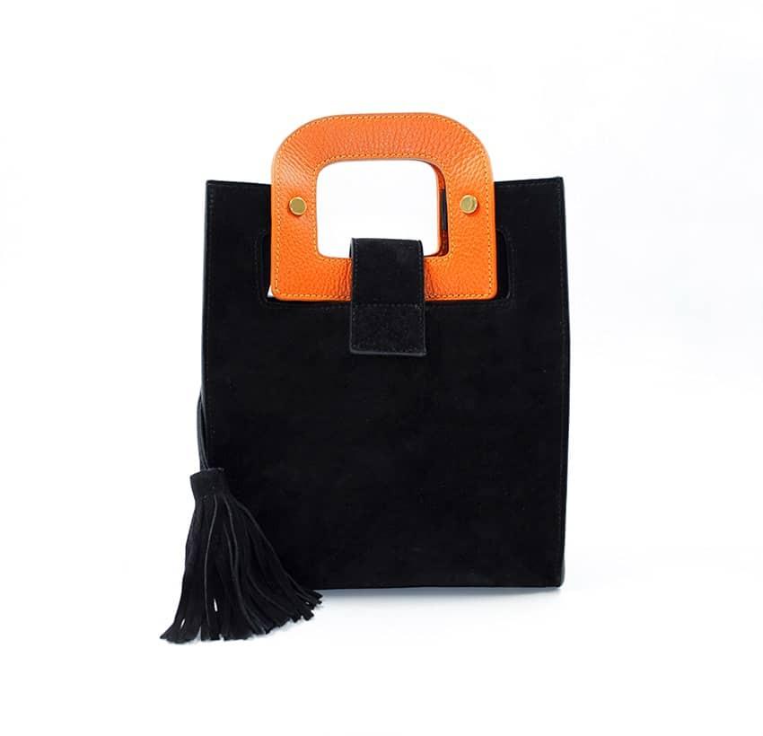 Sac en cuir noir velours ARTISTE, broderie bouche et anses orange, vue 3 |Gloria Balensi