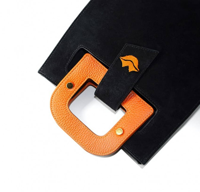 Black suede leather bag ARTISTE, orange handle and mouth embroidery , view 5  | Gloria Balensi