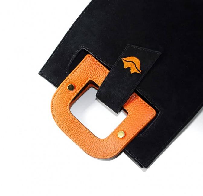 Sac en cuir noir velours ARTISTE, broderie bouche et anses orange, vue 5 |Gloria Balensi