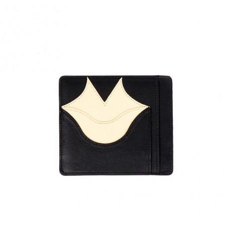 Porte-cartes MILY noir et beige en cuir de veau et agneau