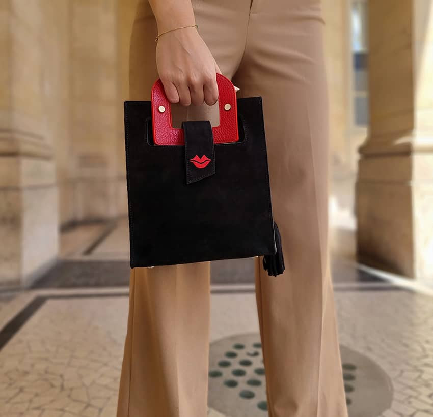 Black suede leather bag ARTISTE, red handle and mouth embroidery , view 2  | Gloria Balensi