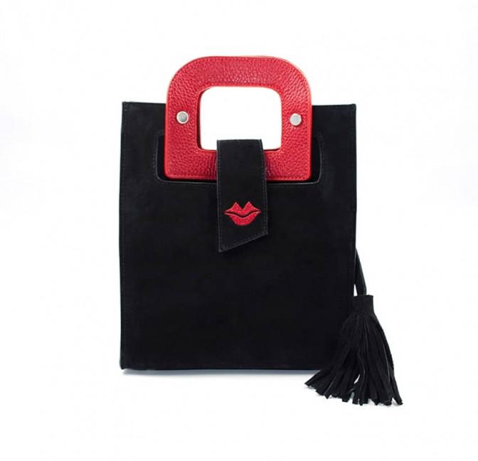 Sac en cuir noir velours ARTISTE, broderie bouche et anses rouge, vue 1 |Gloria Balensi